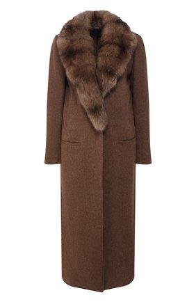 Кашемировое пальто с меховым воротником | Фото №1