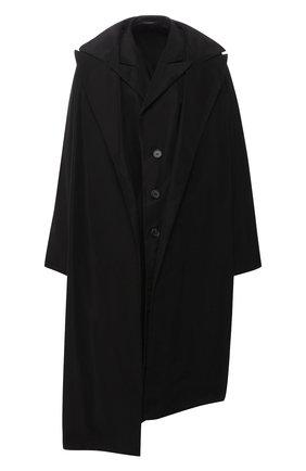 Пальто асимметричного кроя Yohji Yamamoto черного цвета | Фото №1