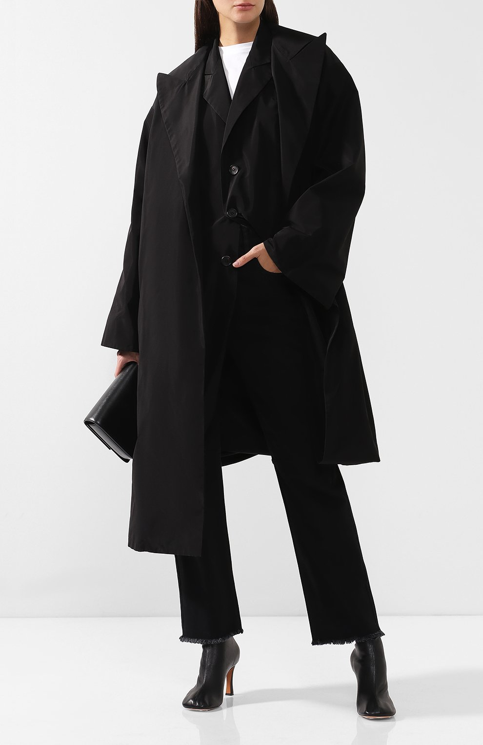 Пальто асимметричного кроя Yohji Yamamoto черного цвета | Фото №2