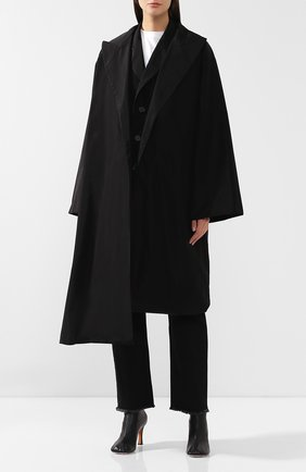 Пальто асимметричного кроя Yohji Yamamoto черного цвета | Фото №3
