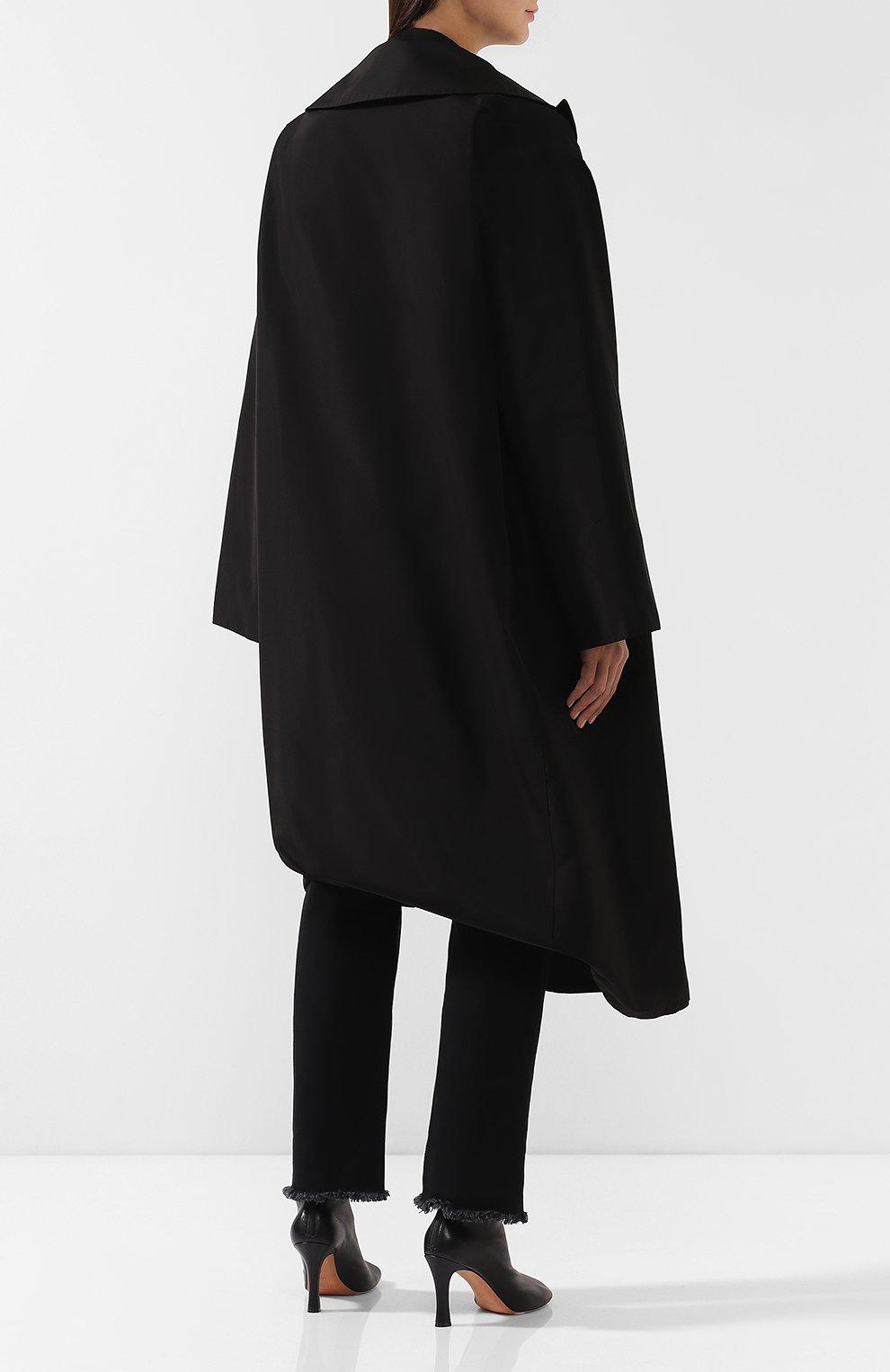 Пальто асимметричного кроя Yohji Yamamoto черного цвета | Фото №4