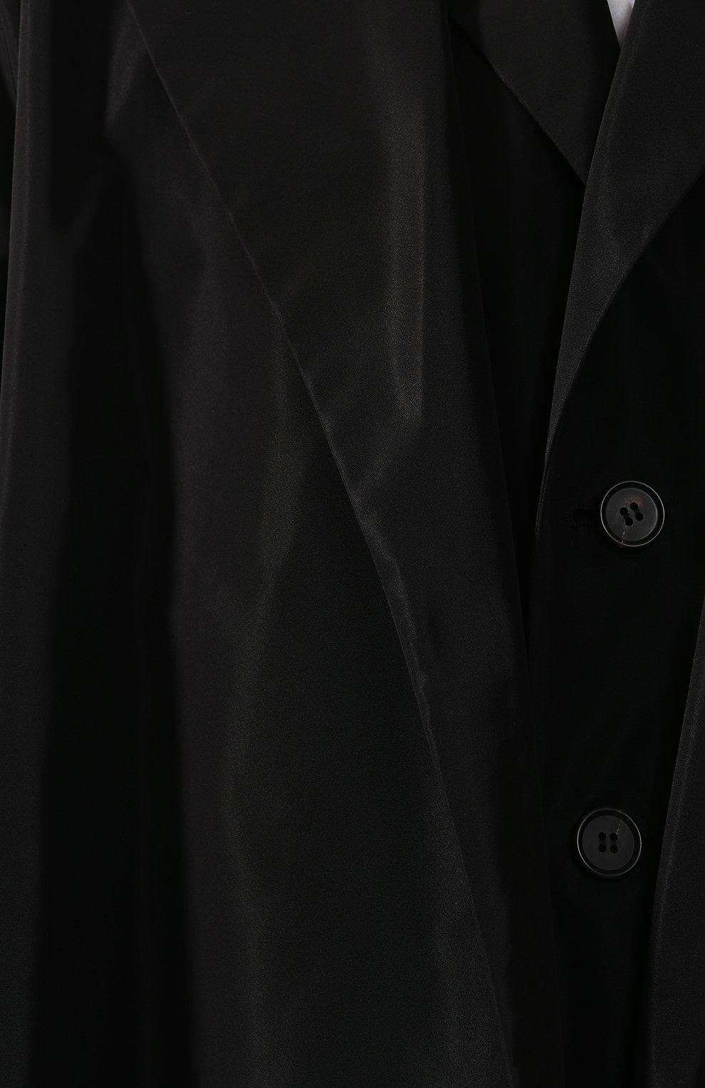 Пальто асимметричного кроя Yohji Yamamoto черного цвета | Фото №5
