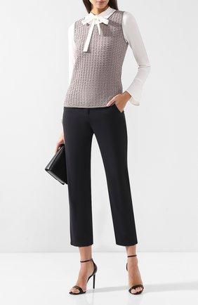 Женские укороченные брюки из шерсти GIORGIO ARMANI темно-серого цвета, арт. 8WHPP00E/T0084 | Фото 2