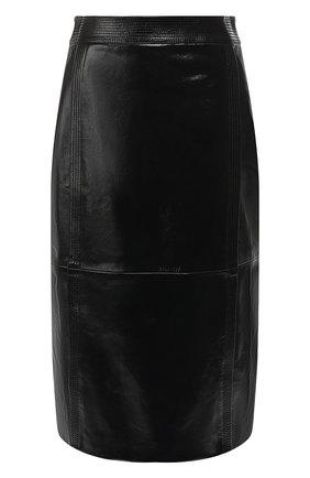Кожаная юбка-миди   Фото №1