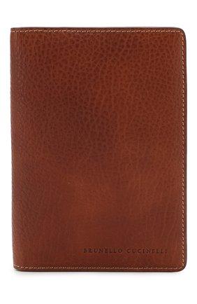 Мужская кожаная обложка для паспорта BRUNELLO CUCINELLI коричневого цвета, арт. MWZIU336 | Фото 1