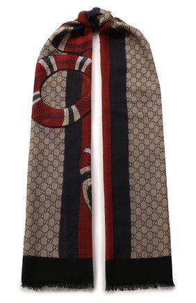 Мужской шерстяной шарф GUCCI разноцветного цвета, арт. 429733/4G200 | Фото 1