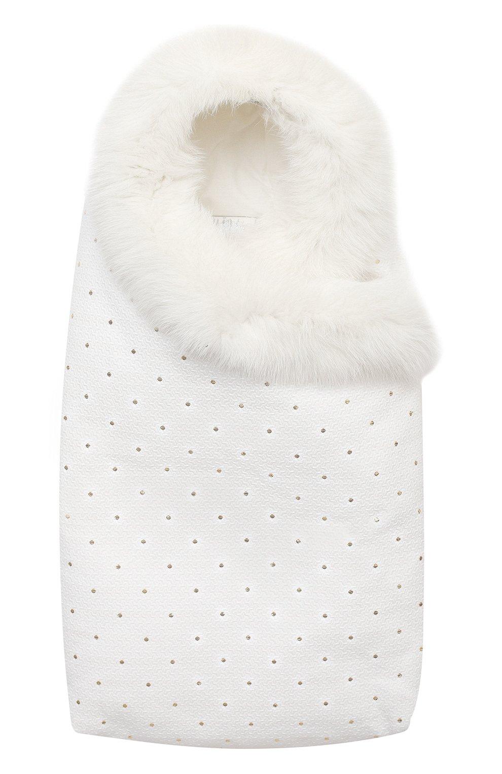 Детского комплект на выписку белуга CHEPE белого цвета, арт. 391018   Фото 8 (Материал внешний: Хлопок; Ростовка одежда: 0 - 3 мес   50 - 60 см)