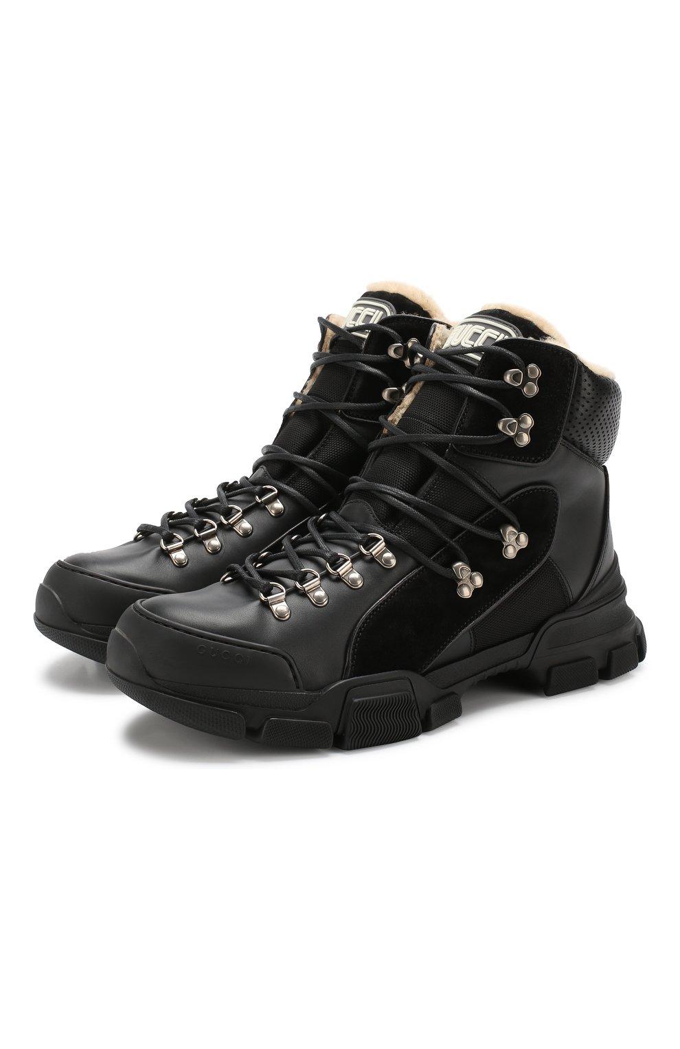 0e003c38 Комбинированные кроссовки Flashtrek с внутренней меховой отделкой Gucci  черные   Фото №1