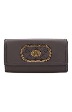 Кожаный кошелек Bottega Veneta фиолетового цвета | Фото №1