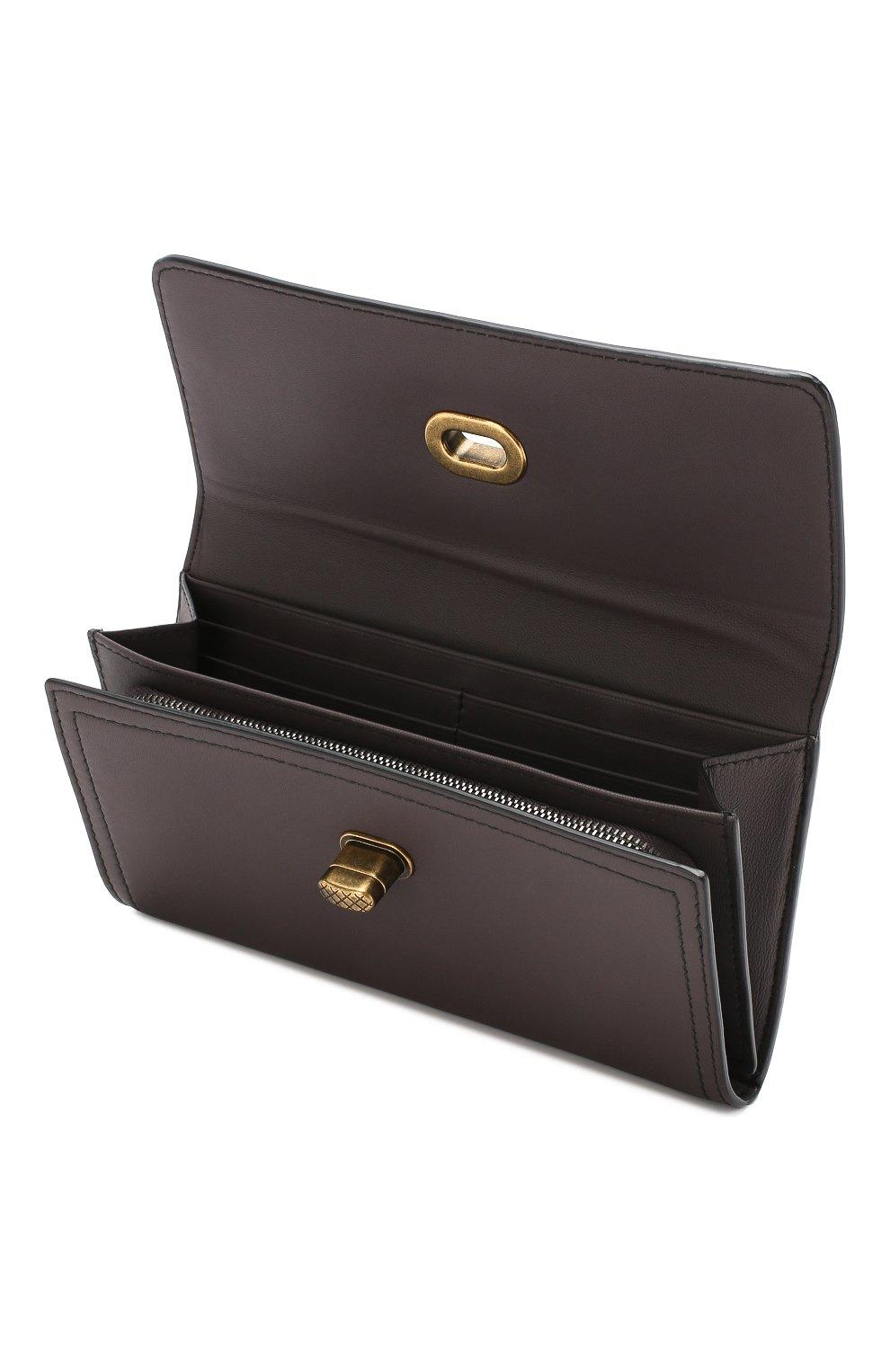 Кожаный кошелек Bottega Veneta фиолетового цвета | Фото №3
