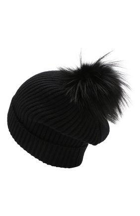 Женская кашемировая шапка с помпоном из меха лисы DOLCE & GABBANA черного цвета, арт. I617KW/JAWMU   Фото 2