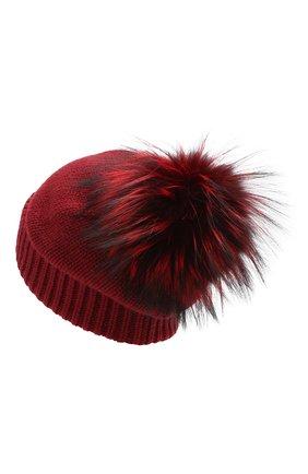 Женская кашемировая шапка с помпоном из меха лисы DOLCE & GABBANA бордового цвета, арт. I620KW/JAWMV | Фото 2 (Статус проверки: Проверено, Проверена категория; Материал: Шерсть, Кашемир)