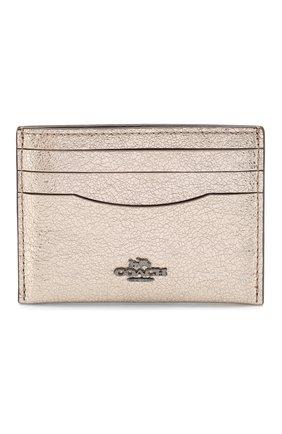 Женский кожаный футляр для кредитных карт COACH золотого цвета, арт. 59462 | Фото 1