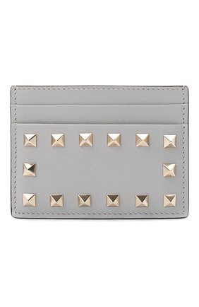 Женский кожаный футляр для кредитных карт valentino garavani rockstud VALENTINO светло-серого цвета, арт. RW2P0486/B0L | Фото 1