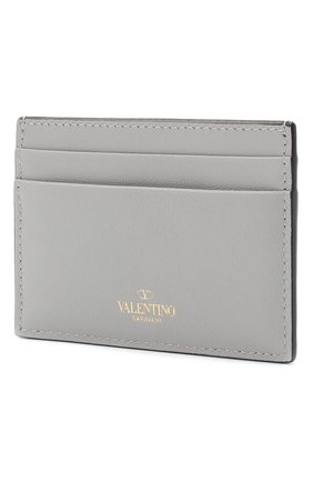 Женский кожаный футляр для кредитных карт valentino garavani rockstud VALENTINO светло-серого цвета, арт. RW2P0486/B0L | Фото 2