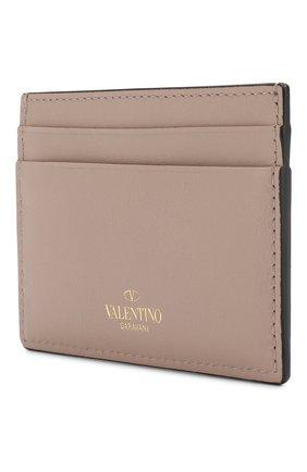 Женский кожаный футляр для кредитных карт valentino garavani rockstud VALENTINO бежевого цвета, арт. RW2P0486/B0L | Фото 2