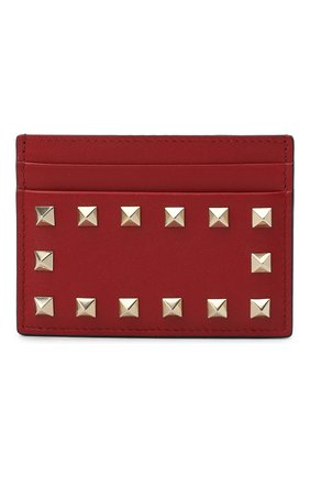 Женский кожаный футляр для кредитных карт valentino garavani rockstud VALENTINO красного цвета, арт. RW2P0486/B0L | Фото 1