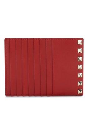 Женский кожаный футляр для кредитных карт valentino garavani rockstud VALENTINO красного цвета, арт. RW2P0Q60/B0L | Фото 1