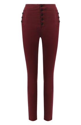 Женские джинсы-скинни на пуговицах J BRAND бордового цвета, арт. JB001421/A | Фото 1