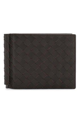 Мужской кожаный зажим для купюр с плетением intrecciato BOTTEGA VENETA темно-коричневого цвета, арт. 123180/V4651 | Фото 1