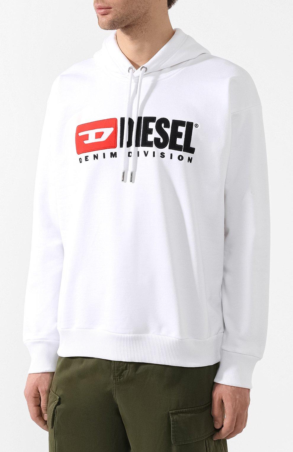 Хлопковое худи Diesel белый | Фото №3
