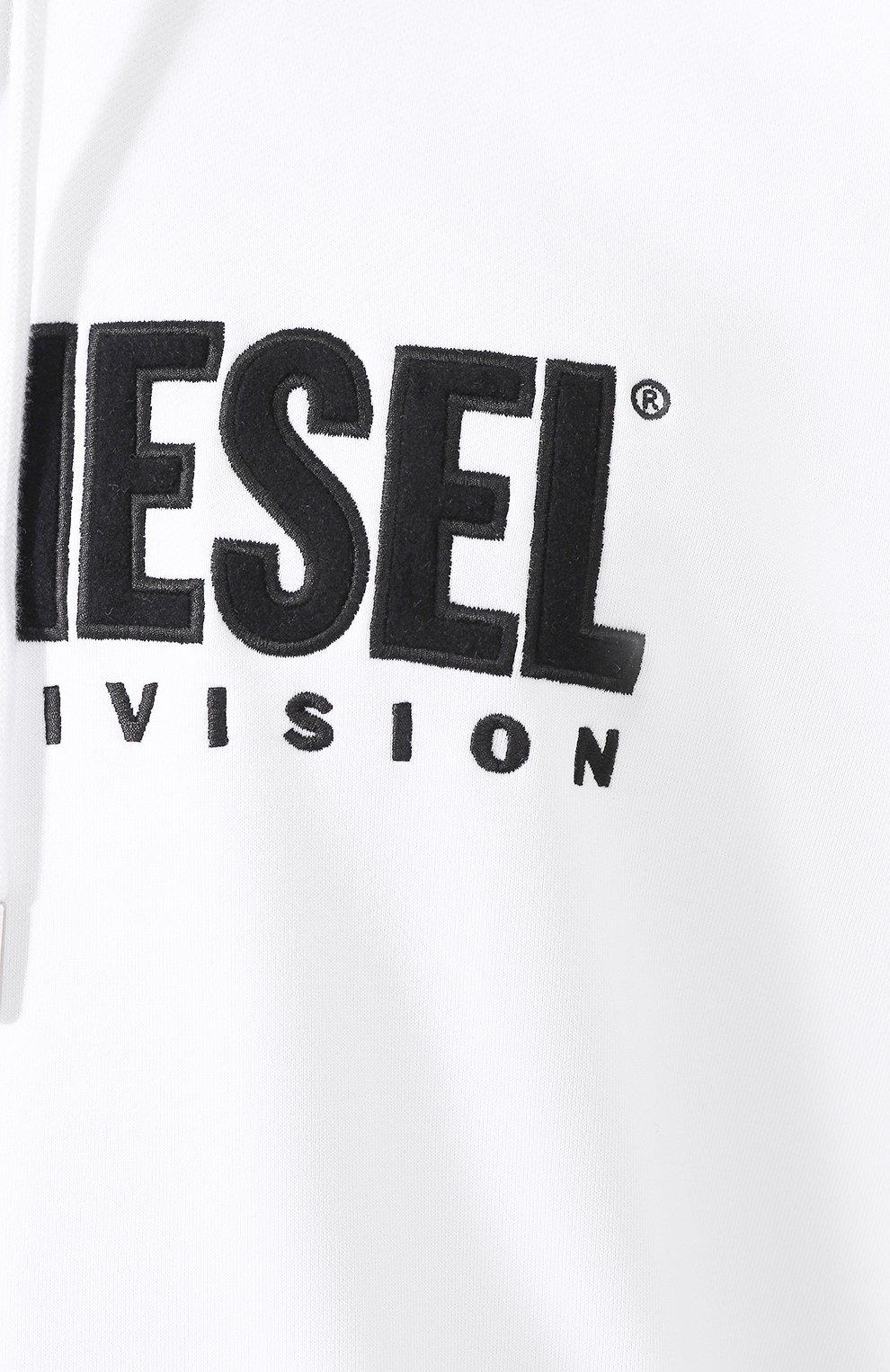 Хлопковое худи Diesel белый | Фото №5