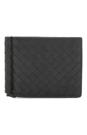 Мужской кожаный зажим для купюр с плетением intrecciato BOTTEGA VENETA темно-серого цвета, арт. 123180/V4651 | Фото 1
