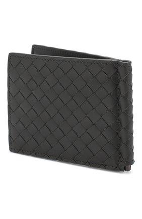 Мужской кожаный зажим для купюр с плетением intrecciato BOTTEGA VENETA темно-серого цвета, арт. 123180/V4651 | Фото 2