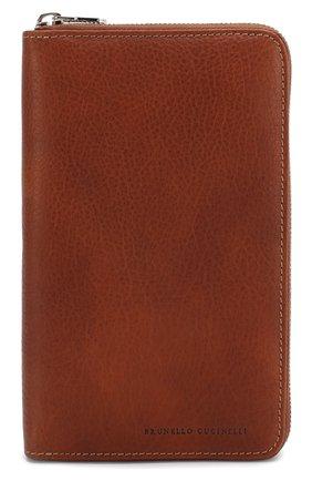 Мужская кожаный футляр для документов BRUNELLO CUCINELLI коричневого цвета, арт. MWZIU180 | Фото 1