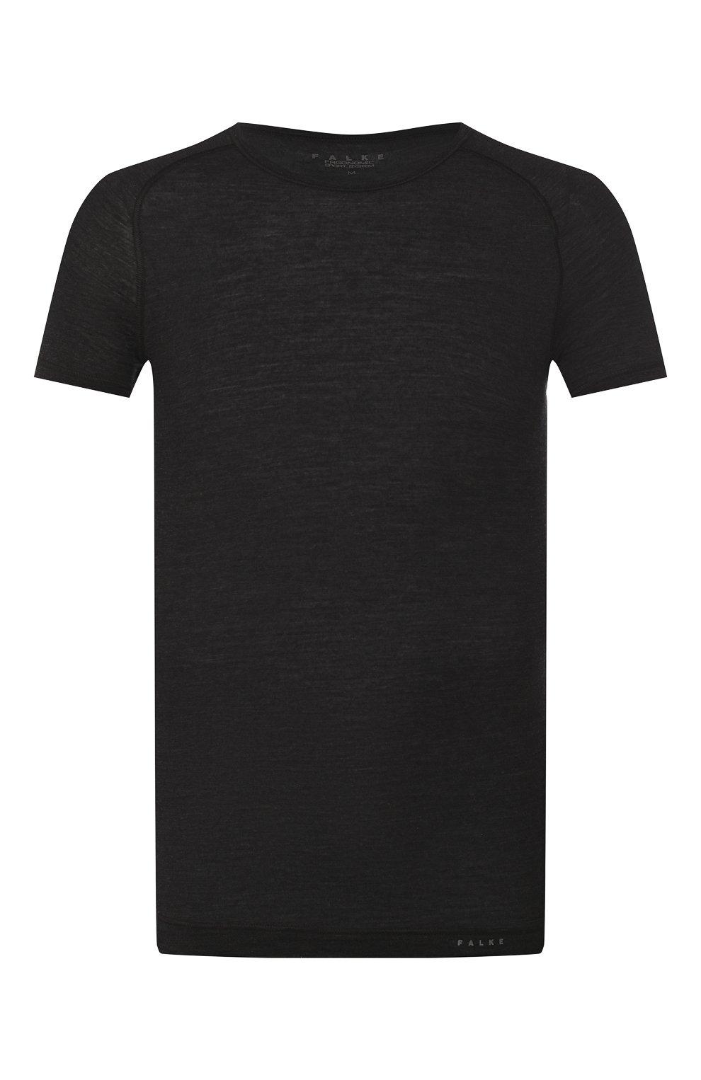 Мужская футболка из смеси шерсти и шелка FALKE темно-серого цвета, арт. 33423   Фото 1 (Материал внешний: Шерсть, Шелк; Кросс-КТ: домашняя одежда; Рукава: Короткие; Длина (для топов): Стандартные; Мужское Кросс-КТ: Футболка-белье; Статус проверки: Проверена категория)