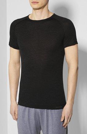 Мужская футболка из смеси шерсти и шелка FALKE темно-серого цвета, арт. 33423   Фото 3 (Материал внешний: Шерсть, Шелк; Кросс-КТ: домашняя одежда; Рукава: Короткие; Длина (для топов): Стандартные; Мужское Кросс-КТ: Футболка-белье; Статус проверки: Проверена категория)