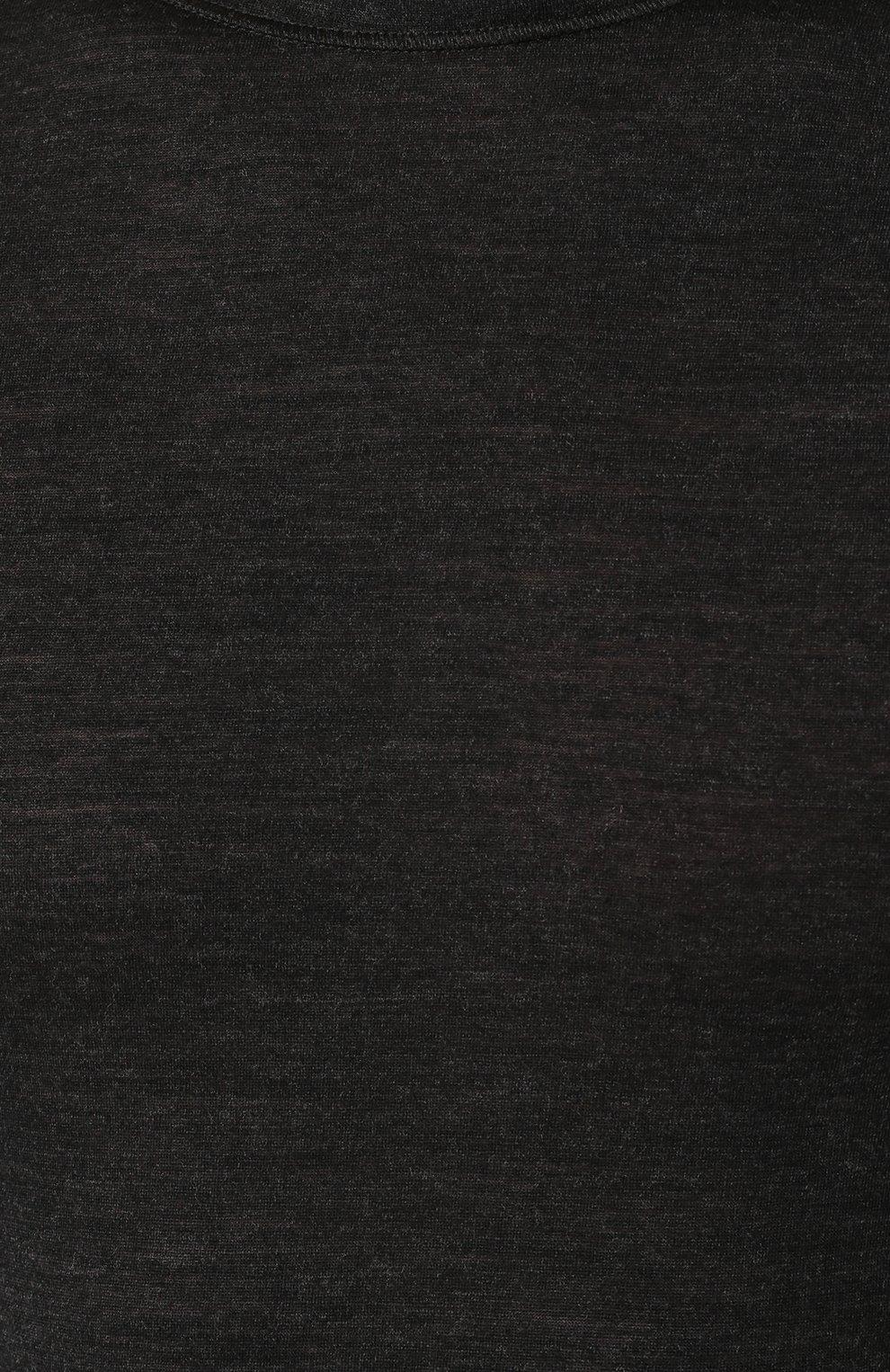 Мужская футболка из смеси шерсти и шелка FALKE темно-серого цвета, арт. 33423   Фото 5 (Материал внешний: Шерсть, Шелк; Кросс-КТ: домашняя одежда; Рукава: Короткие; Длина (для топов): Стандартные; Мужское Кросс-КТ: Футболка-белье; Статус проверки: Проверена категория)