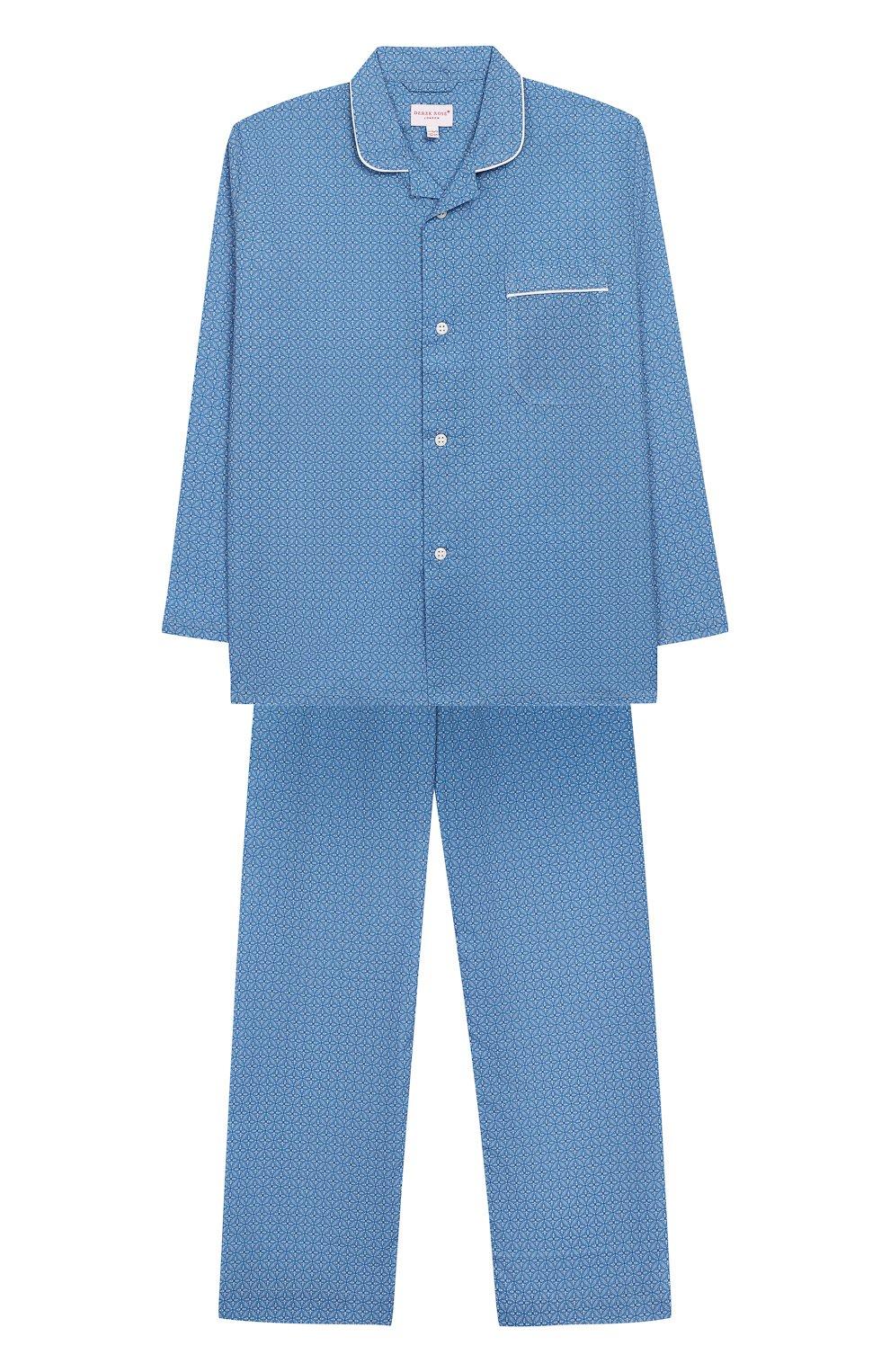 Хлопковая пижама DEREK ROSE голубого цвета — купить за 9950 руб. в ... a9d1ee6f9c762