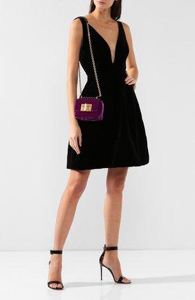 Женская сумка natalia soft mini из бархата TOM FORD фиолетового цвета, арт. L1117T-V01   Фото 2