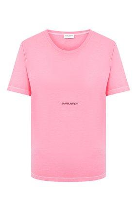 Женская хлопковая футболка SAINT LAURENT фуксия цвета, арт. 548037/YBDV2   Фото 1