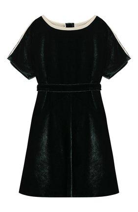 Бархатное платье с поясом | Фото №1