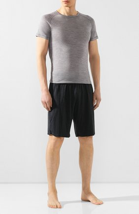 Мужские футболка из смеси шерсти и шелка FALKE серого цвета, арт. 33423 | Фото 2