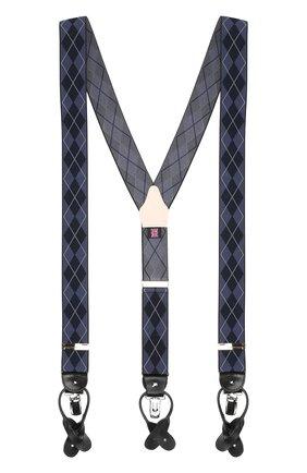 Мужские подтяжки с кожаной отделкой ALBERT THURSTON темно-синего цвета, арт. 9/2330 | Фото 1