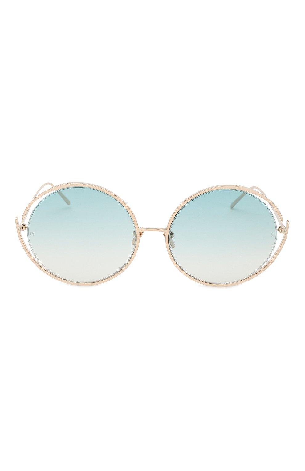 Солнцезащитные очки Linda Farrow голубые   Фото №2