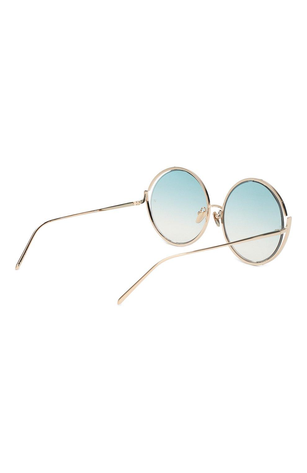 Солнцезащитные очки Linda Farrow голубые   Фото №3