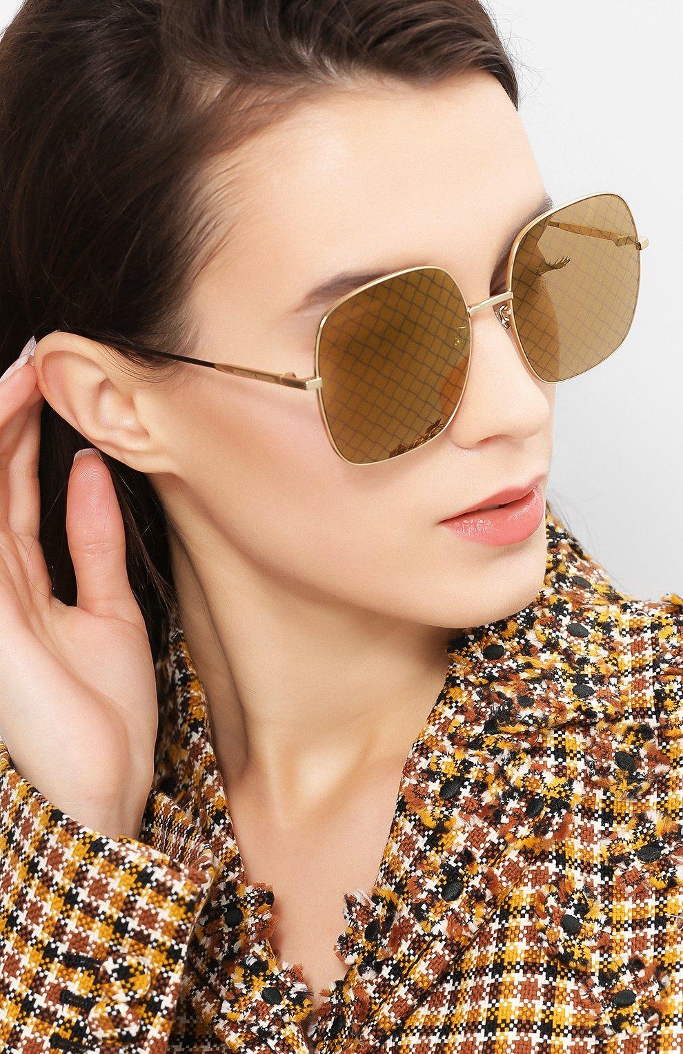 Солнцезащитные очки Bottega Veneta золотые   Фото №2