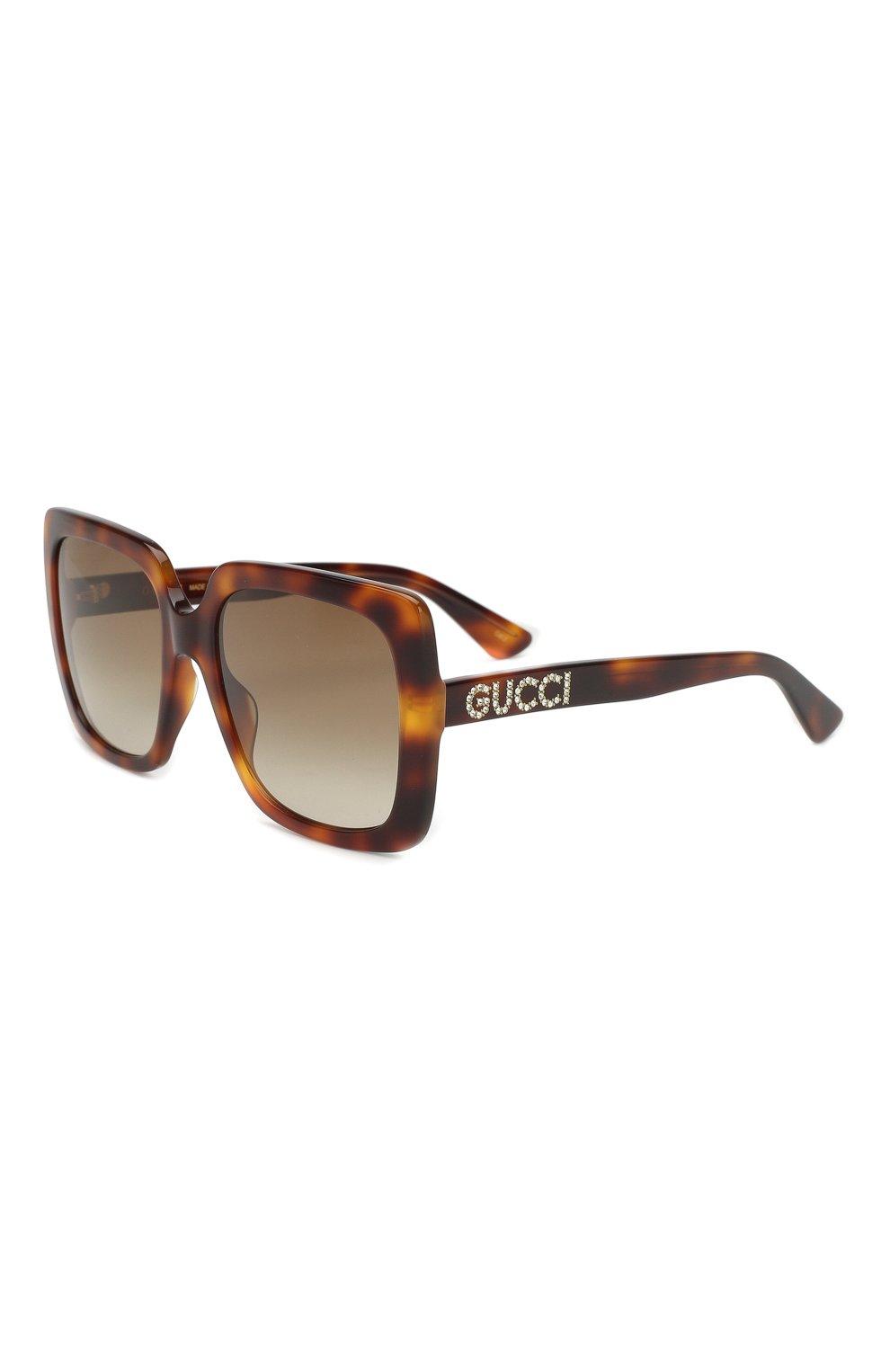 Женские солнцезащитные очки GUCCI коричневого цвета, арт. GG0418 003   Фото 1