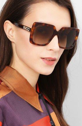 Женские солнцезащитные очки GUCCI коричневого цвета, арт. GG0418 003   Фото 2