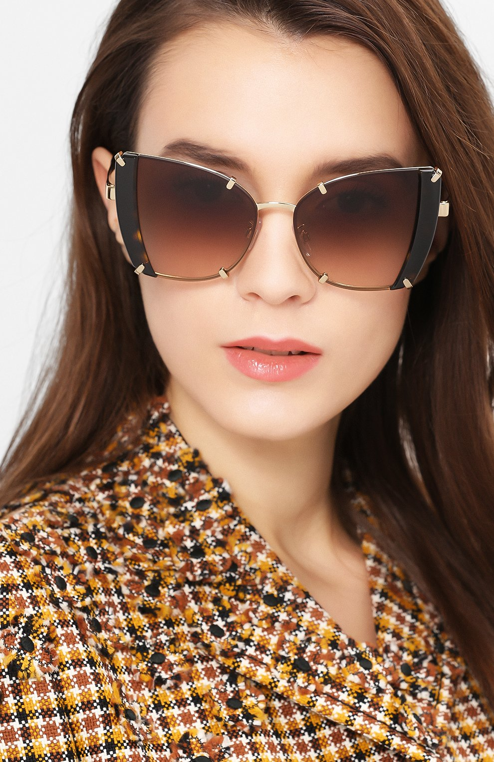 Женские солнцезащитные очки DOLCE & GABBANA коричневого цвета, арт. 2214-02/13   Фото 2