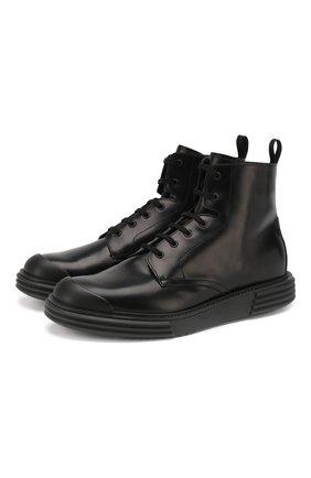 Мужские кожаные ботинки PRADA черного цвета, арт. 2TE129-ZJY-F0002 | Фото 1