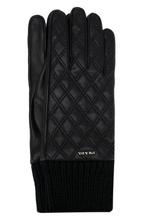 Мужские кожаные перчатки PRADA черного цвета, арт. 2GG049-38-F0002 | Фото 1 (Материал: Шерсть, Кашемир; Статус проверки: Проверена категория; Мужское Кросс-КТ: Кожа и замша)