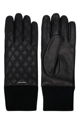 Мужские кожаные перчатки PRADA черного цвета, арт. 2GG049-38-F0002 | Фото 2 (Материал: Шерсть, Кашемир; Статус проверки: Проверена категория; Мужское Кросс-КТ: Кожа и замша)