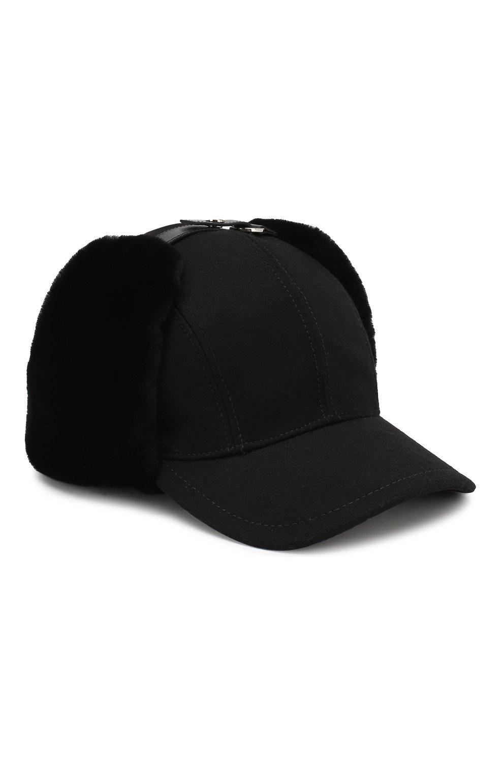 Мужской шерстяная бейсболка с меховыми вставками PRADA черного цвета, арт. 2HC084-2BKH-F0002 | Фото 1