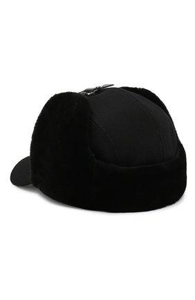 Мужской шерстяная бейсболка с меховыми вставками PRADA черного цвета, арт. 2HC084-2BKH-F0002 | Фото 2