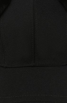 Мужской шерстяная бейсболка с меховыми вставками PRADA черного цвета, арт. 2HC084-2BKH-F0002 | Фото 3